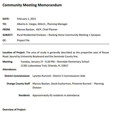 Memo Template For A Meeting Sle Meeting Memo Template 9 Free Documents In Pdf Word