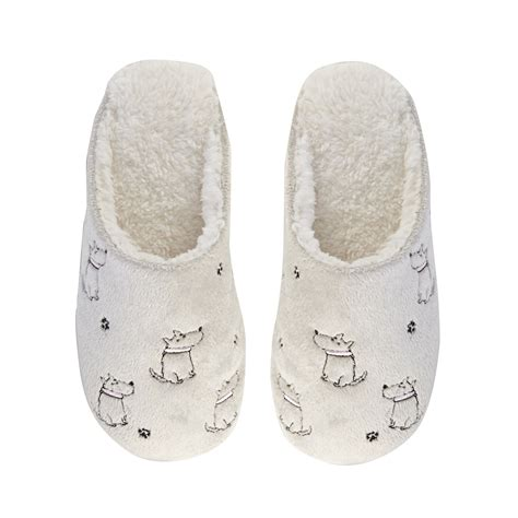 debenhams slippers lounge sleep womens embroidered mule slippers