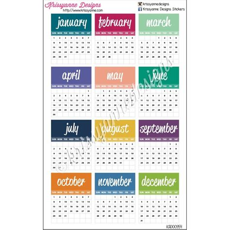 Small Calendar Small Monthly Calendars 2017 Set Of 12 Stickers