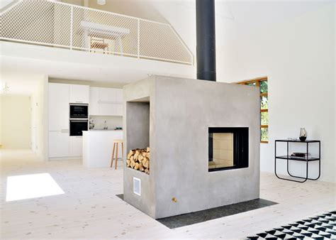 loft house design swedish loft house with concrete fireplace feature