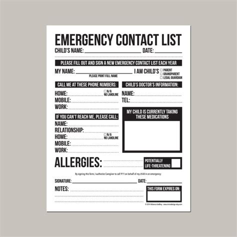 daycare information sheet template emergency contact form for nanny or by