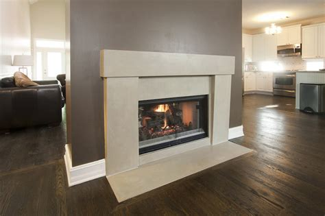 two room fireplace two sided concrete fireplace surround contemporary