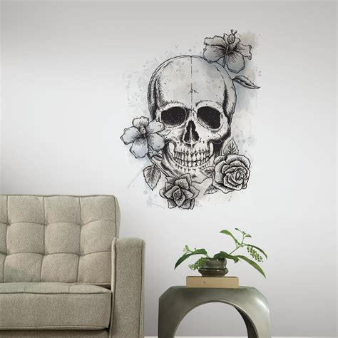wall wandtattoo room mates only neutral floral skull wall decal