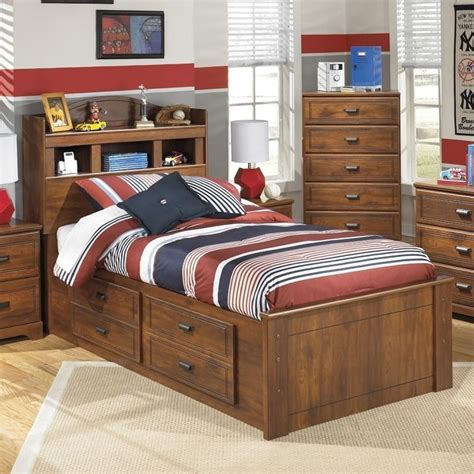 barchan full bookcase bed ashley barchan wood twin bookcase bed in brown