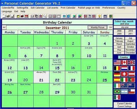 Calendar Generator Personal Calendar Generator 6 2 1 252 Bersicht Und