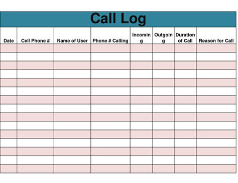 phone call log template 9 best images of free printable phone log form free