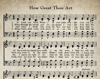 printable lyrics how great thou art hymn lyrics etsy