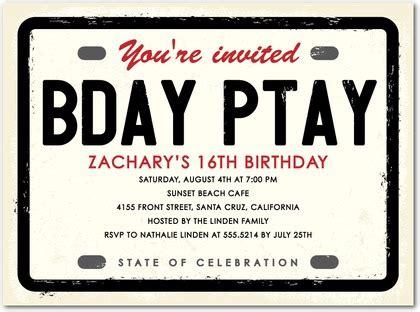 License Plate Birthday Party Invitations In Ecru Hello Little One License Plate Invitation Template