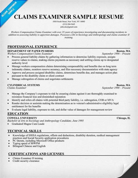claims examiner resume resumecompanion resume sles across all industries
