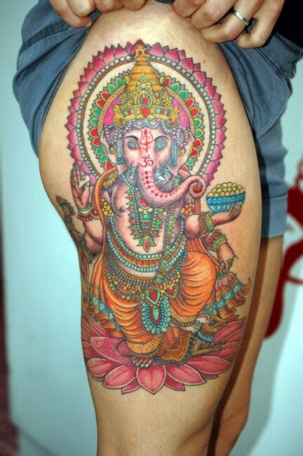 ganesha tattoo hip beautiful ganesha thigh tattoo