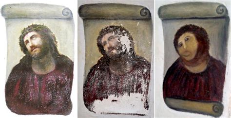 Potato Jesus Meme - ecce homo painting s step by step to destruction potato