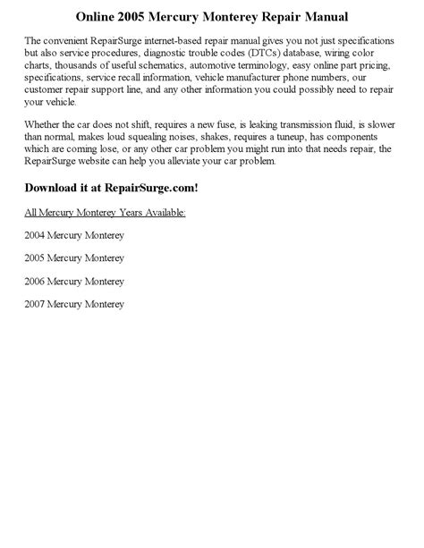 car repair manuals download 2005 mercury monterey security system 2005 mercury monterey repair manual online by ansley issuu