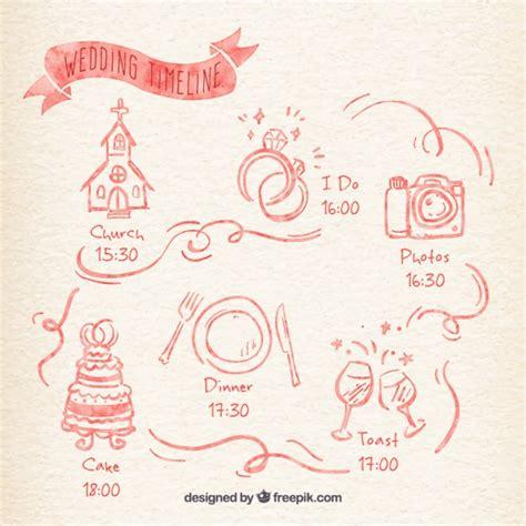 Hochzeitseinladung Timeline by Aquarell Hochzeit Timeline Der Premium Vektor
