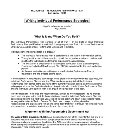 individual performance plan template sle performance plan 7 documents in word pdf