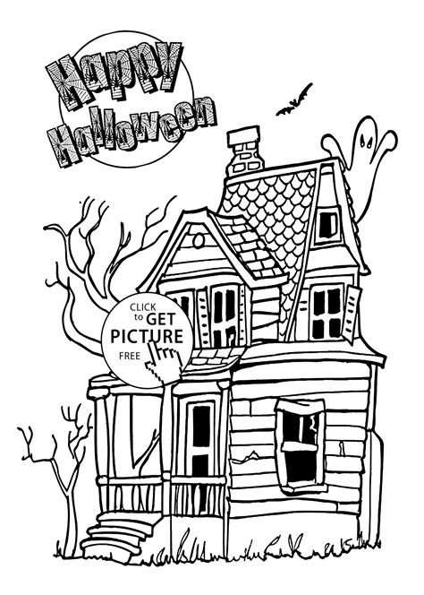 halloween house coloring page happy halloween house coloring page for kids printable
