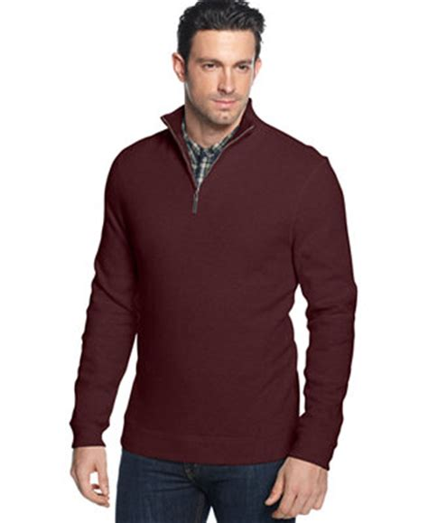 Sweater Knit Hoodie Fingerless Maroon Jaket Polos Casual Premium tasso elba quarter zip mock neck ribbed pullover