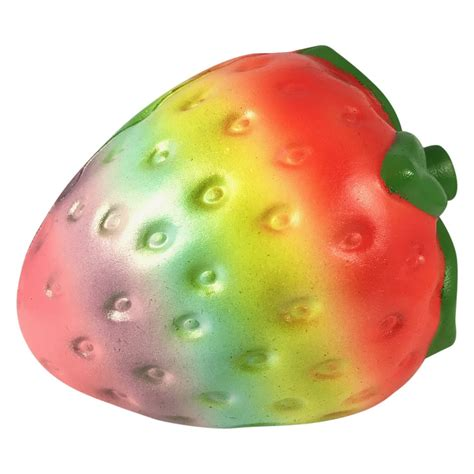 Squishy Buah Stroberi Strawberry Jumbo Rainbow food squishies lyn squishies and accessories