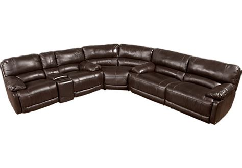 cindy crawford leather sectional cindy crawford auburn hills brown 3pc reclining leather