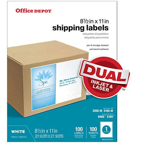 printable stickers office depot office depot brand white inkjetlaser permanent full sheet
