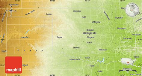 united states map of oklahoma physical map of oklahoma