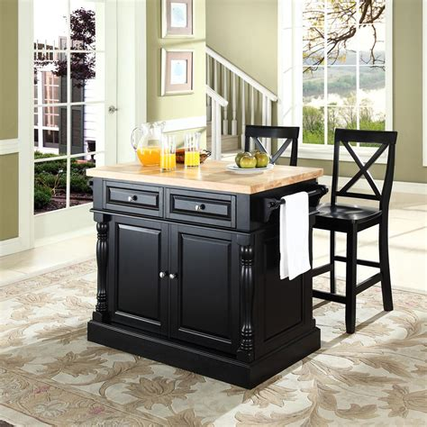 black kitchen island with butcher block top crosley butcher block top kitchen island with 24 quot x back stools by oj commerce kf300063bk 879 00