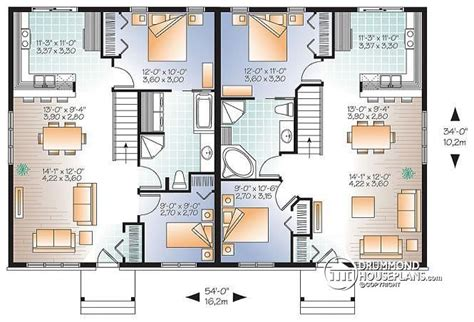 two bedroom semi detached house plan multi family plan w2085 v1 detail from drummondhouseplans com