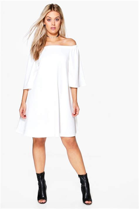 plus swing dress plus nina off shoulder swing dress at boohoo com