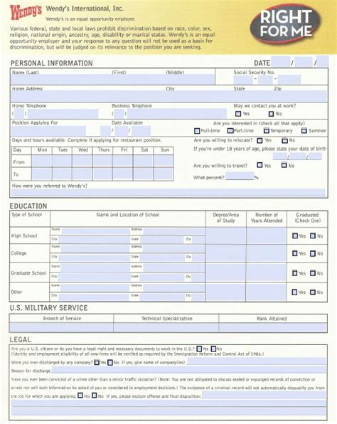 printable job applications wendy s download wendy s job application form fillable pdf
