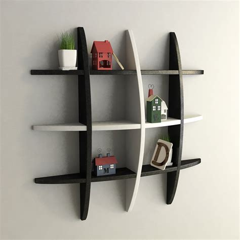 black decorative wall shelves floating decorative - Etagere Zum Drehen