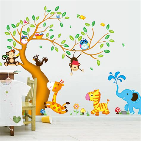 wallpaper cartoon tree monkey owl animals tree cartoon vinyl wall stickers for