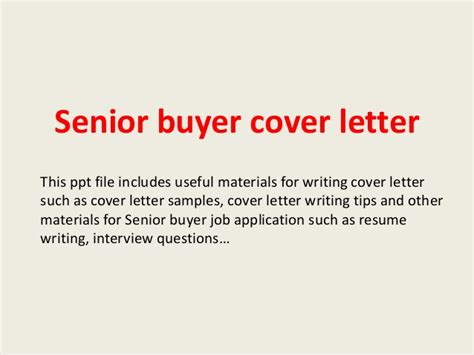 buyer cover letter senior buyer cover letter