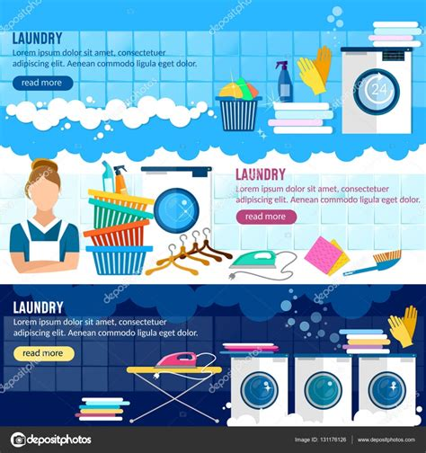 laundry web design laundry service banner laundry staff stock vector