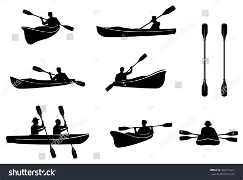 canoes vector kayaking silhouettes vector canoe trails rafting stock