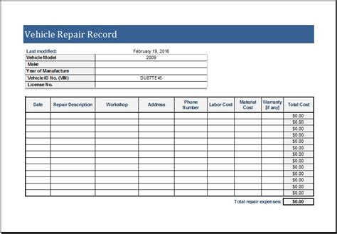 vehicle service record template vehicle repair log template for ms excel excel templates