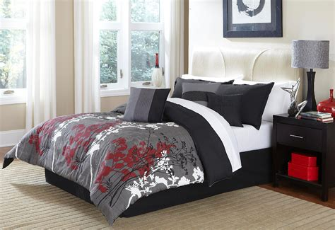 gray and red bedding layered leaves comforter home bed bath bedding