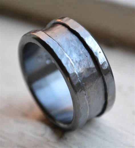 Mens Handmade Rings - custom mens wedding band oxidized silver and