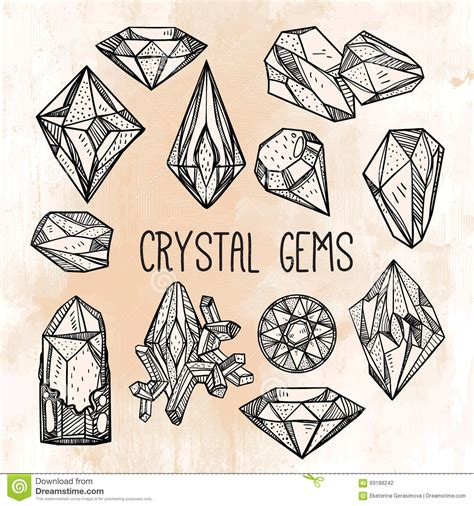 set of hand drawn crystal gems stock vector image 69188242