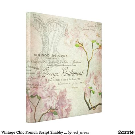 vintage chic french script shabby flowers corset canvas
