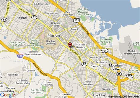 where is palo alto california on a map map of travelodge palo alto palo alto