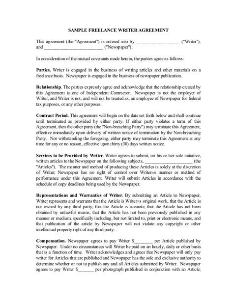 Freelance Writer Contract Freelance Agreement Template Free