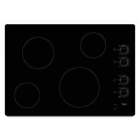 whirlpool w5ce3024xb 30 black electric smoothtop cooktop whirlpool 30 in radiant electric cooktop in black with 4