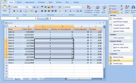 excel 2007 format the selected range of cells as u s currency worksheet select cell breadandhearth
