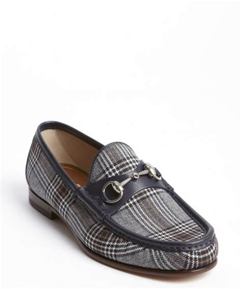 navy and white loafers gucci white and navy plaid canvas and leather horsebit