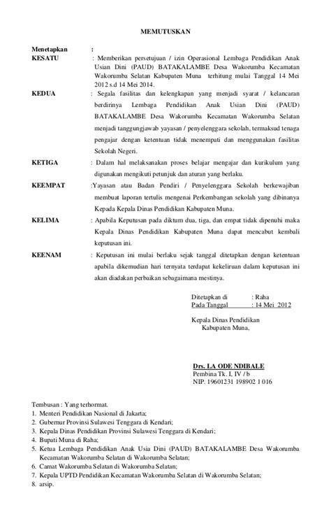 sk persetujuan izin operasional sekolah paud kab muna kec