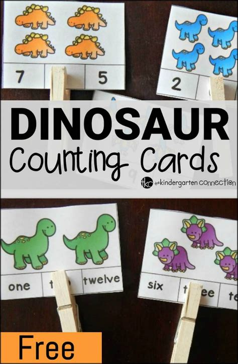 free printable dinosaur number cards dinosaur counting cards the kindergarten connection
