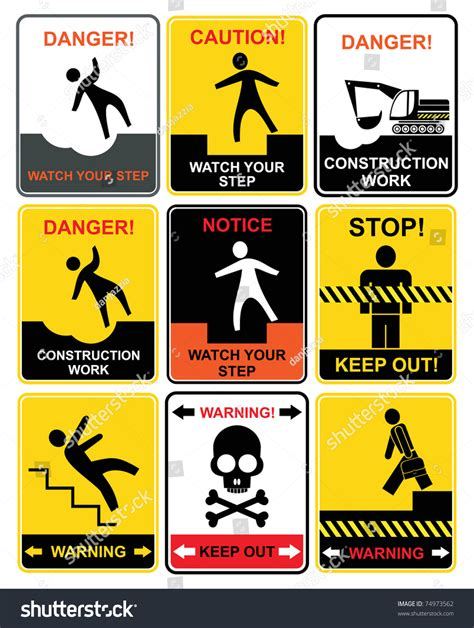 12 Warning Signs Your Is In Danger by Set Of Warning Signs Notice And Caution Stock Vector