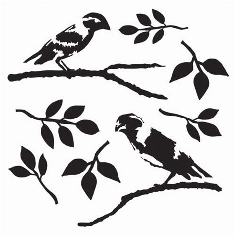 Cherry Blossom Tree Wall Sticker glass stencil love birds 15cm x 15cm