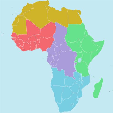 africa map regions regions of the union