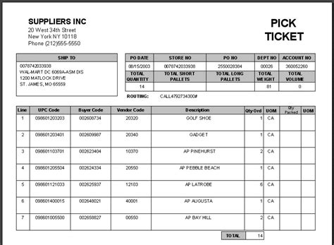 Warehouse Pick Ticket Template Pick Ticket Info Templates Data Warehouse Ticket Template