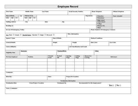 19 Best Images About Employee Forms On Pinterest Posts Your My And Determination Employee Record Template